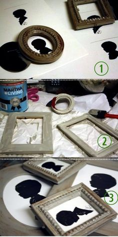 """Michaels frames, MS Flagstone paint, watered down brown craft paint for """"glaze"""". Put in silhouettes using tutorial from Jones Design Company. Via Holly Mathis."""