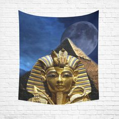 """King Tut and Pyramid Cotton Linen Wall Tapestry 51""""x 60"""""""