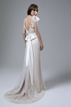 Back of the Iris French Lace Jacket with Andrea Silk Tulle and French Lace Skirt with Ivory Sash Wedding Dress by Halfpenny London