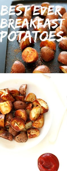 SUPER CRISPY Breakfast Potatoes thanks to one SIMPLE trick! - This technique works well on fries, too! Perfect texture and tastes great with gourmet seasoning salt. Vegan Foods, Vegan Dishes, Baker Recipes, Cooking Recipes, Vegan Breakfast Recipes, Vegetarian Recipes, Healthy Recipes, Vegetarian Breakfast Recipes, Vegetarian Dinners
