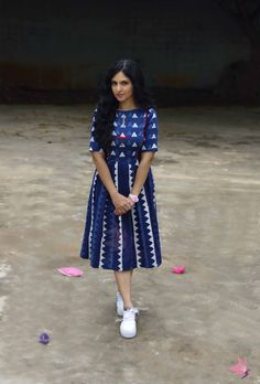 Indigo blue block printed pleated cotton dress Styylefairy is part of Kalamkari dresses - Frock For Teens, Frock For Women, Western Dresses For Women, Western Outfits, Kalamkari Dresses, Ikkat Dresses, Bandhani Dress, Kurta Designs Women, Blouse Designs