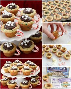 Hot Chocolate Cookie Cups are festive Christmas cookies! Sugar cookie cups filled with fudge, mini marshmallows & sprinkles. Love the candy cane handle! Hot Chocolate Cookie Cups are sugar cookies perfect for the holidays. Kid Desserts, Christmas Desserts, Christmas Baking, Christmas Cookies, Christmas Bread, Christmas Houses, Holiday Baking, Christmas 2019, Chocolate Sugar Cookies