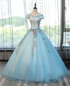 Off Shulder Prom Dress, Blue Tulle Long Poofy Evening Gown For Prom #prom #dress #promdress