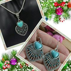 Set- Matching Boho Turquoise Necklace And Earrings