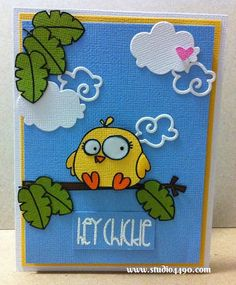 Hey Chickie Materials used: Stamps - Chubby Chums, Spring Groves, Summer Groves, Zoo Crew (Paper Smooches); Dies - Clouds (Paper Smooches); Cardstock - American Crafts, Knight; Hero Arts Shadow Ink - Bubble Gum (Hero Arts); Distress Markers (Ranger), and Glossy Accents (Ranger).