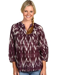 Lucky Brand 3/4 Sleeve Peasant Top W/Print