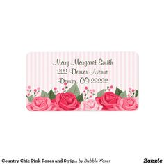 Country Chic Pink Roses and Stripes Address Labels