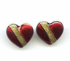Vtg Royal Heart Valentine's Red Enamel & Glitter Small GoldTone Pierced Earrings