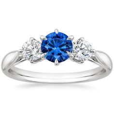 18K+White+Gold+Sapphire+Three+Stone+Catalina+Diamond+Ring+from+Brilliant+Earth