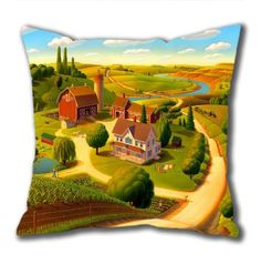 New Illustration Painting Pfeiffer Homestead-tetons Standard Size Design Square Pillowcase/Cotton Pillowcase with Invisible Zipper in 40*40CM 16*16(527)-527122 $21.88