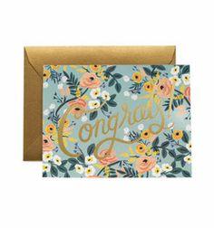 Congrats Grußkarte mit Blumenmuster