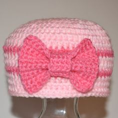 Pink Girls Crochet Hat Pink Baby Beanie with Bow by DirtRoadCrafter