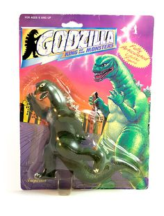This cheap and probably unauthorized Godzilla action figure manufactured by Imperial Toy Corporation is still in the original bubble card packaging.