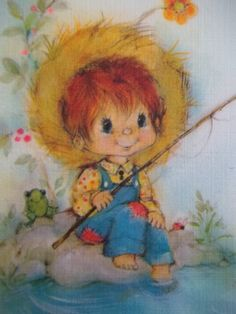60's era Little Boy Fishing Birthday Card Hallmark