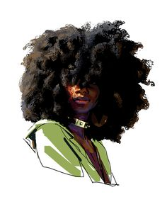 Afro by Sean Sevestre Afro Painting, Black Art Painting, Black Artwork, Black Love Art, Black Girl Art, Art Girl, Foto Cartoon, Cartoon Art, Cartoon Drawings