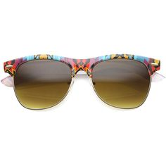 Indie festival native print half frame sunglasses 9995 ($14) ❤ liked on Polyvore featuring accessories, eyewear, sunglasses, horn rimmed glasses, gradient lens sunglasses, horn glasses, rimmed glasses and lens glasses