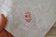 monogrammed towel - red and white