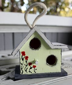Sweet Shabby Chic Birdhouse Ornament Hand Painted by ElaLakeDesign, $16.75