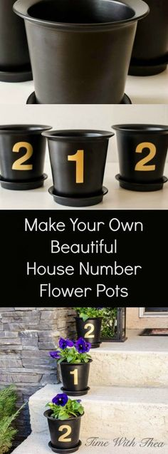 It is remarkably easy to make your own house number flower pots using plant pots and gold spray painted number stickers! Fill with your favourite annual flowers! / http://timewiththea.com