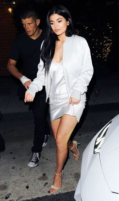 Kylie Jenner basically wore a nightgown to dinner! See the other pics!