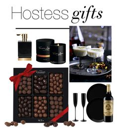 """""""Hostess Gifts"""" by anja-pixie-jovanovic ❤ liked on Polyvore featuring interior, interiors, interior design, home, home decor, interior decorating, Timothy Dunn, iittala, Riedel and holidays"""