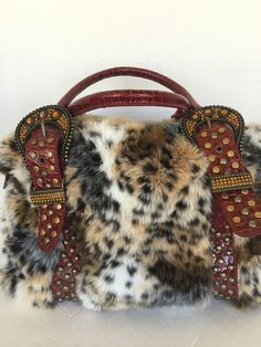 Bag Faux Fur L Beaded Designer Fashion Burgundy Hip Chic Studded | eBay