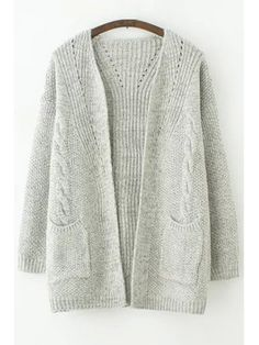 Pure Color Long Sleeves Cardigan - GRAY ONE SIZE(FIT SIZE XS TO M)