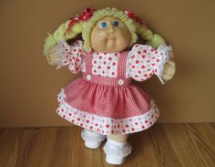 16 Cabbage Patch Doll Dress Set Red Hearts and by PlentifulThreads, $22.00