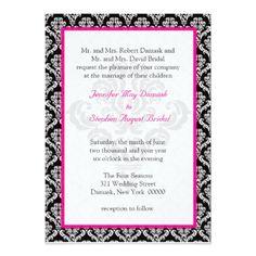 #Damask Wedding Elegant Template Black White Pink - #weddinginvitations #wedding #invitations #party #card #cards #invitation #floral