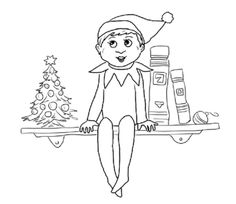 Elf Sits On Shelf Coloring Page From The Category Select 24851 Printable Crafts Of Cartoons Nature Animals Bible And Many More