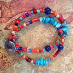 Trade bead bracelet Vintage African white heart von KarenStefanoff