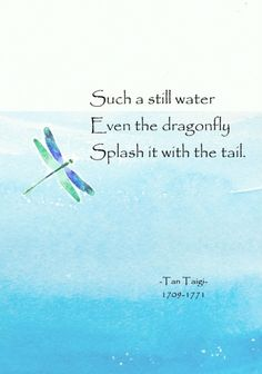 Such a still water Even the dragonfly Splash it with the tail. Bible Verses Quotes Inspirational, Zen Quotes, Journal Quotes, Wise Quotes, Poetry Quotes, Famous Quotes, Japanese Poem, Japanese Haiku, Qigong