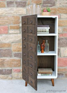 Vintage bookcase makeover to DIY faux card catalog - DIY furniture makeover ideas by Girl in the Garage Bookcase Makeover, Furniture Makeover, Diy Furniture Renovation, Cabinet Makeover, Furniture Projects, Furniture Decor, Furniture Storage, Furniture Online, Discount Furniture