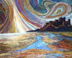 Latest commission piece by Rachel Wright #Bamburgh #castle, #Northumberland. #stitch # textiles #art