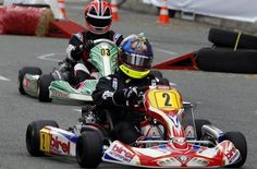Juan Pablo Montoya and Helio Castroneves during Montoya's charity kart race in Medellin, Colombia. (Image: Jaime Perez, El Colombiano).