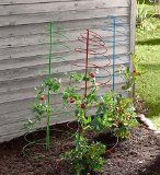 Colorful Spiral Plant Stakes Powder coated red, blue and green steel stake plant supports add a decorative accent to your garden. Perfect for use where space is limited. Each support measures 20½ inches W x 60 inches H. Set of 3.  #Tomato cages & supports  $19.99