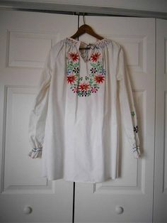 Vintage white cotton embroidered Hungarian Blouse