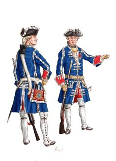 Officiers de grenadiers des Gardes Françaises vers 1760 (source: tableau de Pierre Lenfant, Château de Versailles, no d'inv. MV 212). Peinture Konrad BYS (membre polonais de La Sabretache). Officers Gardes Françaises (King's Household) circa 1760. Painting by Konrad BYS, Polish fellow-member.