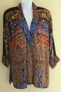 "Carole Little Vintage Sz 6 50"" Bust Rayon Oversized Art-to-Wear Paisley Jacket"