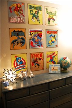Superhero signs! Great for J's room, easy to change out when he gets older and decides he doesn't want superheroes up anymore!