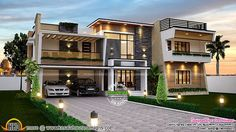 Your modern house design : modern dream house design with unique theme Terrace Design, Dream Home Design, House Design, Contemporary House Plans, Modern House House Plans With Photos, New House Plans, House Front Design, Modern House Design, Modern Houses, Style At Home, Contemporary House Plans, Contemporary Decor, Kerala Houses