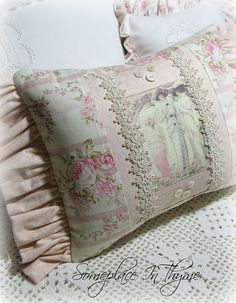 Victorian Ladies Cottage Pillow-pillow,roses,victorian,home,decor,decoration,sofa,chair,shabby,cottage,pink,ruffles,vintage,buttons,chic,cotton,trim,handmade,gift,