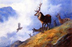 The Athenaeum - Red Deer Watching a Golden Eagle Hunt Ptarmigan (Archibald Thorburn - )