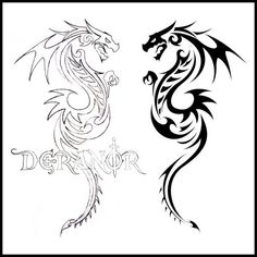 Cool Tribal Dragon Tattoos Design Tribal tattoos is cool ideas for our body. Are you wan create tribal tattoos design on your body ? Dragon Tatoo, Tribal Dragon Tattoos, Dragon Tattoos For Men, Tattoos Skull, Dragon Art, Sleeve Tattoos, Fantasy Dragon, Trendy Tattoos, New Tattoos