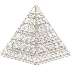Judith Leiber Couture Pyramid Crystal Evening Clutch Bag ($2,856) ❤ liked on Polyvore featuring bags, handbags, clutches, rhine, special occasion clutches, white beaded purse, crystal clutches, crystal purse and white handbags