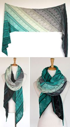 Knitting Pattern for Inara Wrap - Diagonal columns of alternating lace and garter stitch make a strong statement in this long wrap that looks lovely in gradient yarn. 3 lengths. Designed by Ambah. Fingering weight yarn.