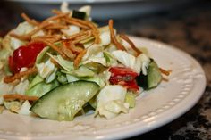 Crazy Good Oriental Chicken Salad and Salad Dressing! This chopped salad recipe is so good, it will change your life. The fresh ginger makes it awesome. Asian Chicken Salads, Chicken Salad Recipes, Main Dish Salads, Dinner Salads, Easy Salads, Summer Salads, Savory Salads, Asian Recipes, Healthy Recipes