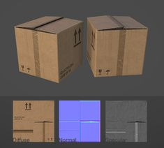 Cardboard box by Bul. Unity 3d, Polygon Modeling, Game Textures, Normal Map, Uv Mapping, 3d Modelle, Modelos 3d, 3d Tutorial, Environmental Art