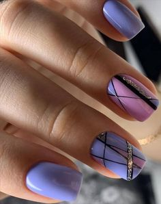 66 beautiful summer nails design with natural short square nails - Page 3 of 4 - Latest Fashion Trends For Woman Square Nail Designs, Cute Nail Designs, Short Square Nails, Geometric Nail, Hot Nails, Nagel Gel, Purple Nails, Nails Inspiration, Beauty Nails