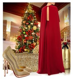 """""""Happy Christmas"""" by jacisummer ❤ liked on Polyvore featuring MoÃ«t & Chandon, Anya Hindmarch, Valentino and Christian Louboutin"""
